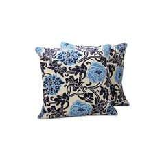 NOVICA India Cotton Print Blue Floral Cushion Covers (Pair) ($33) ❤ liked on Polyvore featuring home, home decor, throw pillows, blue, cushion covers, pillows & throws, novica home decor, floral throw pillows, cotton throw pillows and india home decor