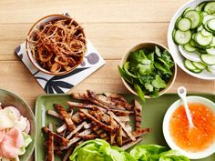 Grilled Pork Lettuce Wraps : Prep the ingredients for these Thai-inspired pork wraps and let guests do the assembling.