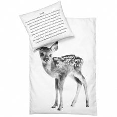 Screen printed duvet with a short history of the deer on the pillow cover.