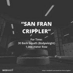 """San Fran Crippler"" WOD - For Time: 30 Back Squats (Bodyweight); 1,000 meter Row"