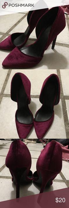 Heels/Pumps Velvet burgundy/wine colored heels. Only worn ONCE Charlotte Russe Shoes Heels