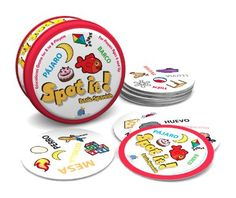 """This looks really fun and simple.  When students """"spot it,"""" have them shout, ¡lo veo!    Amazon.com: Spot It! Basic Spanish: Toys & Games"""