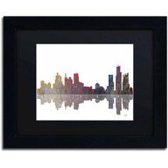 Marlene Watson Boston Massachusetts Skyline Matted Framed Art, Size: 11 x 14, Multicolor