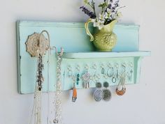 New....Shabby Chic Cottage Wood Jewelry Organizer...Shelf...Necklace Holder...17…