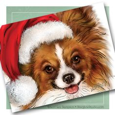 Dog Christmas Cards - Blank Note Cards Set of 6, Papillon Dog with Santa Hat Art