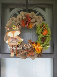Harvest Welcome Burlap Wreath/Fall/Fox/Pumpkin/Gourds/Door Decor/Home Decor/Wall Decor/Fall Leaves/Perfect Gift/Anytime/Ready to Ship by JessicasGCreations on Etsy