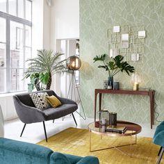Table basse avec miroir en métal cuivré D 83 cm COMÈTE | Maisons du Monde