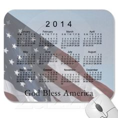 2014 Calendar God Bless America Mouse Pad by Cards by Janz