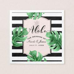 Tropical Leaves & Pineapple Elegant Modern Wedding Paper Napkin