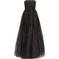Raoul Park Avenue embellished satin-trimmed tulle strapless gown ($500) ❤ liked on Polyvore featuring dresses, gowns, black, fitted dresses, beaded evening gowns, strapless ball gown, fitted gowns and embellished gown