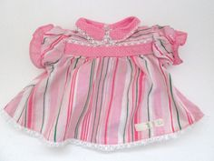 Modern Cabbage Patch Doll Clothes Pink Striped Dress With Lacy Trim #Unbranded #ClothingAccessories