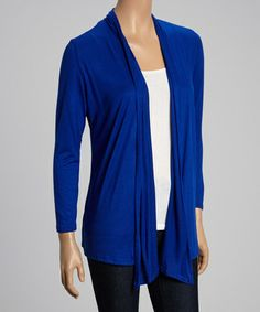 Take a look at this Royal Blue Open Cardigan by Magic Fit on #zulily today!