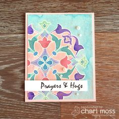This stamp set includes a beautiful arabesque motif that is large enough to fill the entire surface of an A2 card or create backgrounds on a layout. For ease of