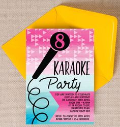 Karaoke Themed Kids Birthday Party Invitation. Printable PDF or professionally printed. Personlise online.