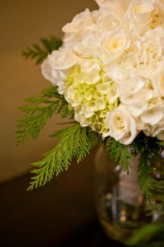 Winter Wedding Bouquet White & Green Photo by BubbleWood Photography
