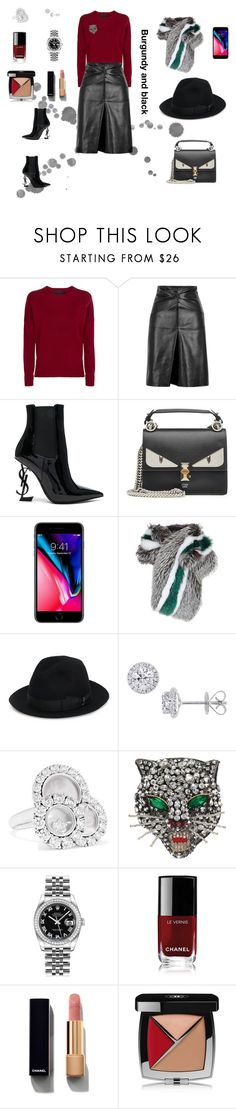 """Burgundy and black"" by malinandersson ❤ liked on Polyvore featuring Maje, Isabel Marant, Yves Saint Laurent, Fendi, Lilly e Violetta, Borsalino, EWA, Chopard, Gucci and Rolex"