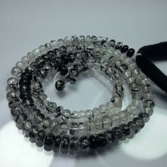 "4 MM Smooth Roundel Beads 14"" Strand 46 Carat Natural Black Rutilated Quartz #Unbranded"