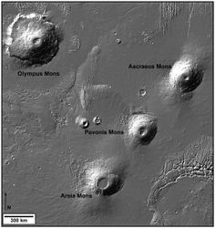 My second favorite place on Mars: Olympus Mons and the three Tharsis Montes volcanoes.