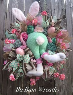 Bunny Wreath Bunny Swag Bunny Decor Cute Bunny by BaBamWreaths