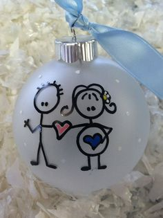 Stick Figure Expecting Family Ornament by SomedayByTheSea on Etsy Disney Ornaments, Painted Christmas Ornaments, Baby Ornaments, Personalized Christmas Ornaments, Christmas Bulbs, Christmas Gifts For Couples, Diy Christmas Gifts, Holiday Crafts, Holiday Fun