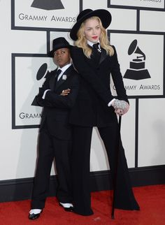 Madonna and her son David made an adorable duo in Ralph Lauren. I'm loving this mother/son moment. | Fashion Bomb daily #GRAMMYs 2014