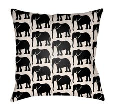 Buy the Surya Light Blue Direct. Shop for the Surya Light Blue Lolita Wide Square Novelty Elephants Polyester Outdoor Accent Pillow Cover and save. Elephant Throw Pillow, Black Bedding, Elephant Print, Ivory Elephant, How To Make Pillows, Black Animals, Linen Pillows, Outdoor Throw Pillows, Throw Pillow Covers
