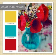 Yellow, Blue and Red Color Palette. Yellow, Blue and Red Color Palette - Sarah Hearts. Get inspired with this goldenrod, turquoise and ruby color palette. Red Color Schemes, Red Colour Palette, Color Combos, Colour Palettes, Turquoise Color Palettes, Color Red, Red And Teal, Red Turquoise, Turquoise Kitchen