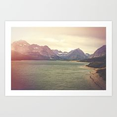 Retro Mountain Lake Art Print by Kurt Rahn. Worldwide shipping available at Society6.com. Just one of millions of high quality products available.