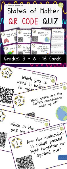A fun QR quiz for your States of Matter science topic or as a quick refresh.