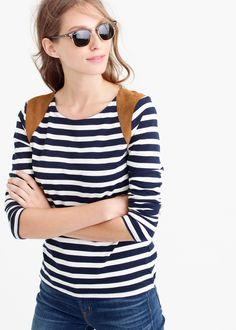 striped suede-shoulder tee