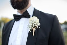 Groom's tuxedo / dinner jacket with bow tie, and gypsophila flower buttonhole. Image by Sally Rawlins Photography Wedding Blog, Wedding Styles, Gypsophila Flower, Button Holes Wedding, Groom Tuxedo, Dinner Jacket, Groom Style, Vineyard Wedding, Flower Bouquet Wedding
