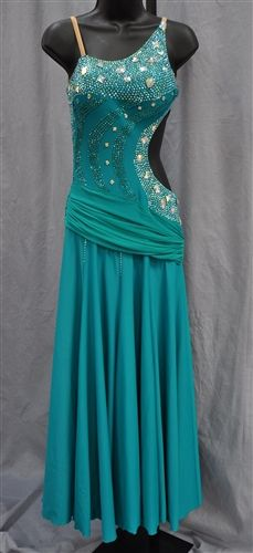 f4e56e14afc Turquoise smooth dress with moderate stoning from Dance Wear Works. Visit  http