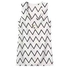 Stylish Zigzag Print Sleeveless Mini Shift Dress ($19) ❤ liked on Polyvore