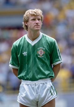 Ian Stewart lines up for Northern Ireland prior to the FIFA World Cup match between Northern Ireland and Brazil at the Estadio Jalisco in Guadalajara, June Brazil won Get premium, high resolution news photos at Getty Images Soccer Kits, Football Kits, Football Soccer, Football Players, Norman Whiteside, World Cup Match, International Football, World Football, Vintage Football