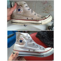 Before and after cleaning converse in the most bazaar way!! Scrub with white tooth paste! Then wash off then brush bleach over them with an old toothbrush, put them through the washing machine and tada! Converse that look like new!!