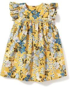 Floral-Print Flutter-Sleeve Dress for Baby