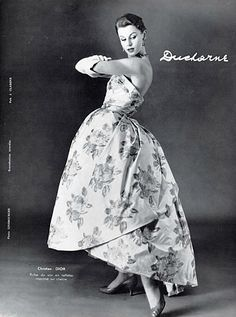 Evening dress of printed satin and taffeta by Christian Dior, photo by Ginsbourger, 1957