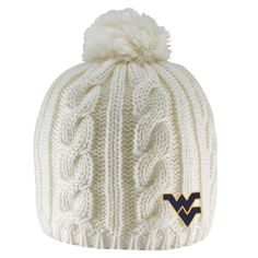 best sneakers f55b5 4a3ae Show your Mountaineer Pride in beautiful WVU style in this cable knit beanie  with pom.