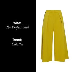 If you consider yourself polished and professional try donning culottes this Summer, with a button-up shirt and pumps.