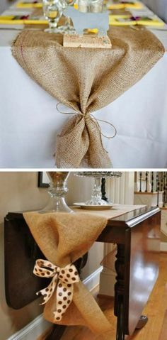 DIY Fall Crafts & Decoration Ideas That Are Easy and Inexpensive DIY Burlap Table Runner. Add a little rustic and a little country to your fall table with this DIY burlap table ruuner. Fall Home Decor, Autumn Home, Rustic Fall Decor, Rustic Chic, Burlap Fall Decor, Rustic Style, Rustic Wood, Thanksgiving Crafts, Thanksgiving Decorations