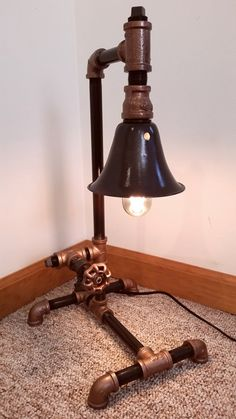 steampunk industrial pipe desk lamp by ironpipeart on etsy