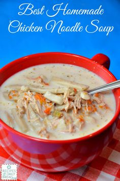 This Slow Cooker Chicken Noodle Soup is the BEST!  It is also a wonderful way to use your leftover turkey!   #chicken noodle soup #soup #slow cooker #recipes soups