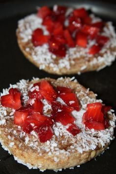 Say good morning to a strawberry coconut english muffin french toast. It's healthy and filling, and a good start to any morning.