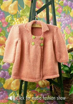 Jardin Baby Jacket By Melissa Matthay - Free Knitted Pattern - See http://www.ravelry.com/patterns/library/jardin-baby-jacket For Additional Projects - (naturallycaron)