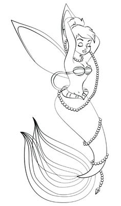 Tinkerbell As Ariel Mermaid Coloring Pages Disney For Kids These Free Online And Printable