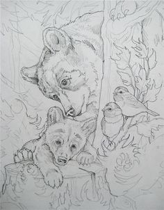 Bergsma gallery press paintings originals original sketches 2013 you lift me up original sketch Animal Sketches, Animal Drawings, Art Drawings, Wood Burning Patterns, Wood Burning Art, Bear Drawing, Line Drawing, Animal Coloring Pages, Coloring Book Pages