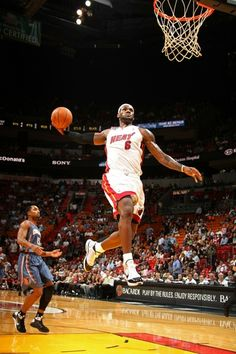 LeBron James dunking against the Bobcats at AAA.