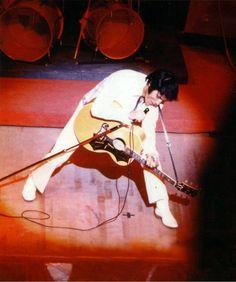 Elvis performing at the Las Vegas International (wearing white herringbone suit) August 1, 1969