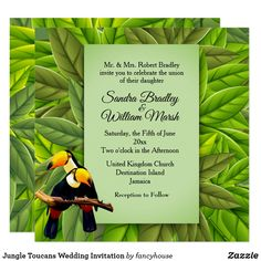 Jungle Toucans Wedding Invitation
