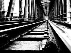 The old train bridge. Brooklyn Bridge, Railroad Tracks, Line, My Photos, Old Things, Train, Black And White, Black White, Blanco Y Negro